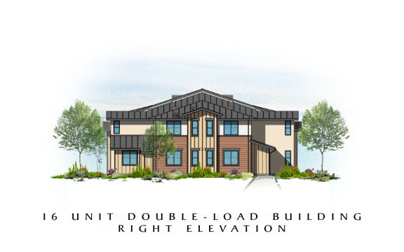 Easton Plaza 16 Unit Double-Load Building Right Elevation
