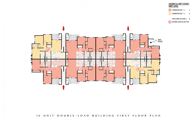 Easton Plaza 16 Unit Double-Load Building First Floor Plan
