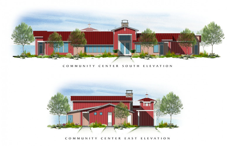 Easton Plaza Community Center South & East Elevations