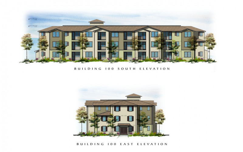 The Village at Los Carneros Building 100 South & East Elevations