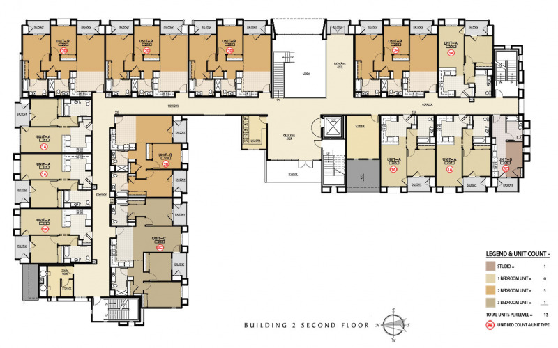 The Residences at Depot Street Building 2 Second Floor Plan