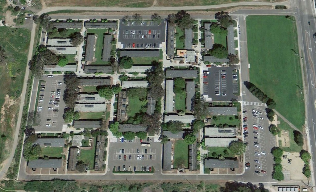 Aerial view of West Campus Student Housing, UCSB, Goleta, California