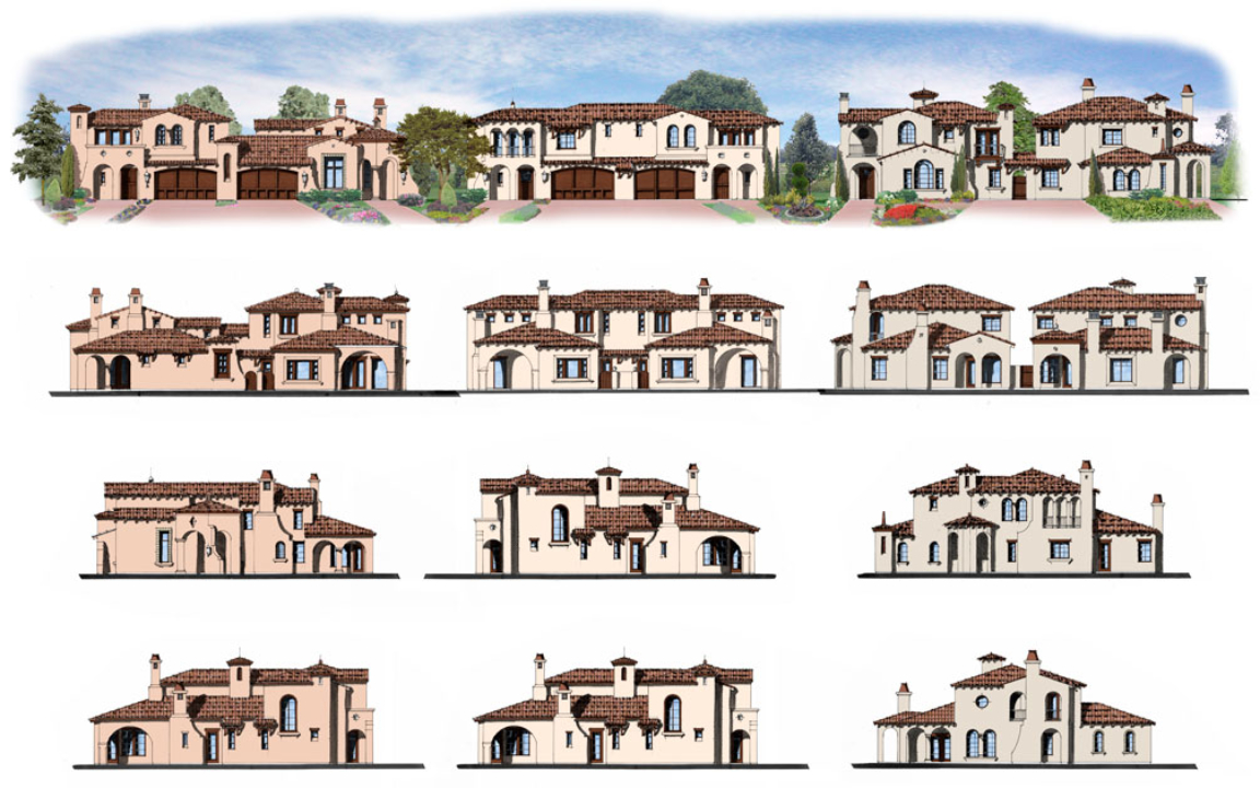 Front Elevations of all Building Types of Auburn Village, Granite Bay, California