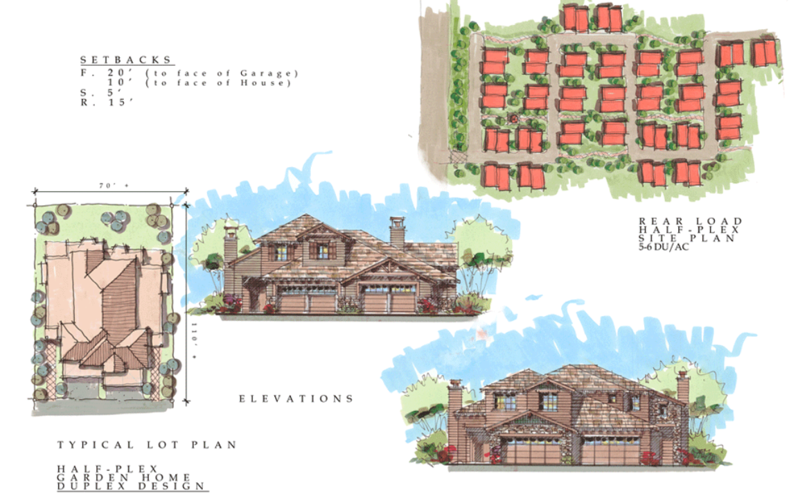 Mountain Gate Meadows Rear Load Half-Plex Site Plans and Elevations in Shasta Lake , California