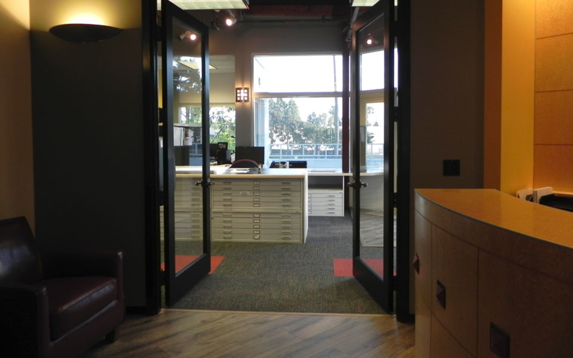 View of our Finished Reception Room Looking Toward the Open Office Space