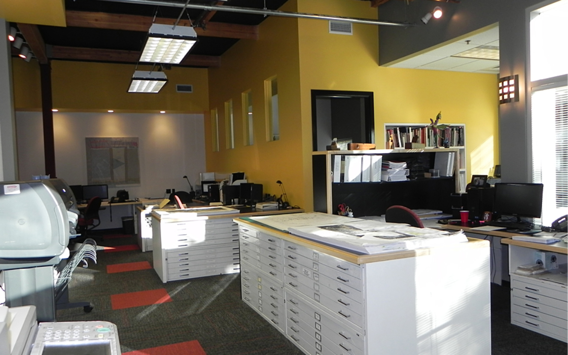 Finished View of Open Environment Work Space at 150 Castilian Drive, Goleta, Ca.